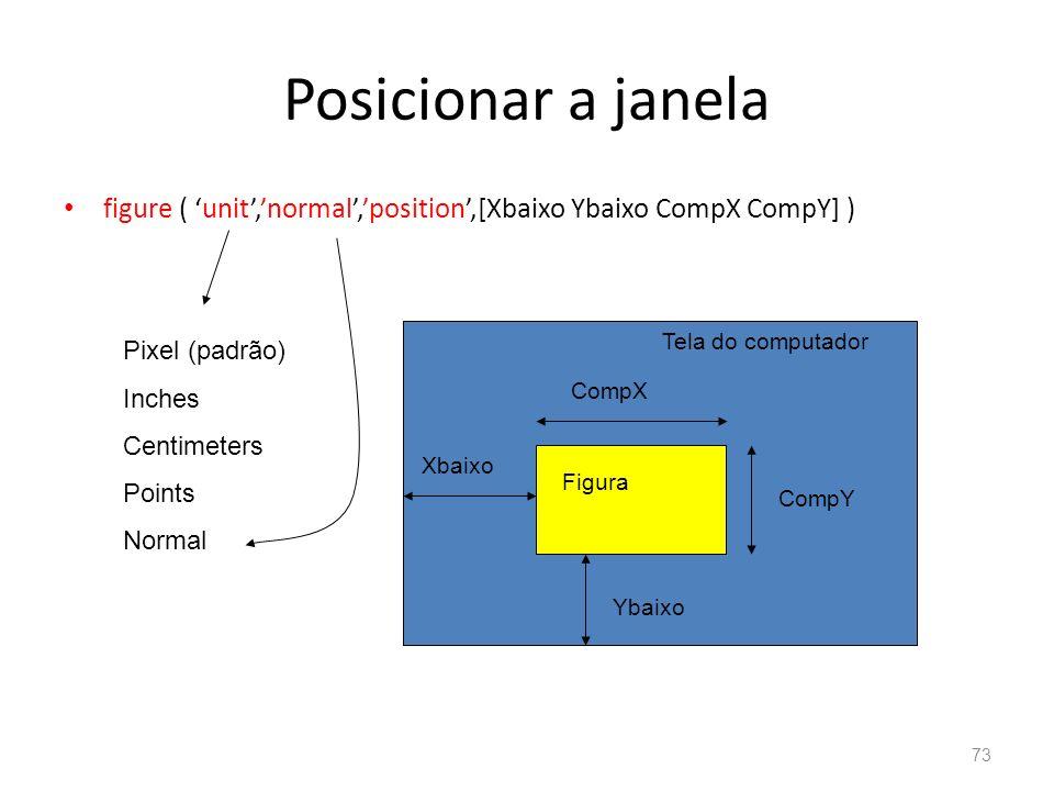 Posicionar a janela figure ( 'unit','normal','position',[Xbaixo Ybaixo CompX CompY] ) Tela do computador.